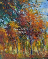 Stromořadí, podzim příroda, originální malovaný obraz, olej na desce