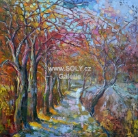Předjaří, jarní krajina, originál obrazy, olej plátno CZ autor