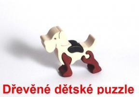 Pejsek dřevěné dětské skládací puzzle