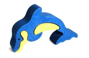 Delfín dřevěné dětské skládací puzzle