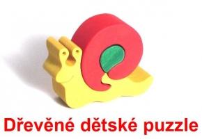 Šnek dřevěné dětské skládací puzzle