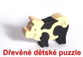Prasátko sviňka dřevěné dětské skládací puzzle