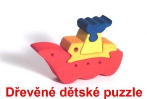Loď dřevěné dětské skládací puzzle
