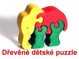 Slon dřevěné dětské skládací puzzle