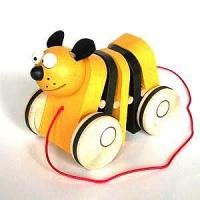 Tahací klapací hračka dřevěná kočka