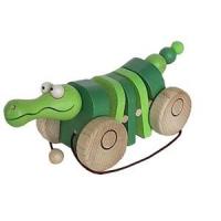 Tahací klapací dřevěná česká hračka krokodýl