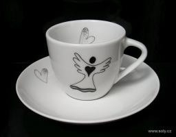 Porcelánový šálek s podšálkem 0,1l s andělem