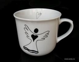 Velký porcelánový hrnek na čaj s andělem