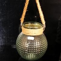 Skleněná dekorační zelená váza či svícen.