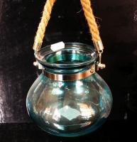 Modrá závěsná lucerna lampa na svíčku či dekorování