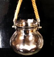 Čirá stříbrná závěsná lucerna, dekorační sklo, lampa