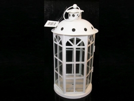 Bílá plechová lucerna, bytové zahradní dekorace