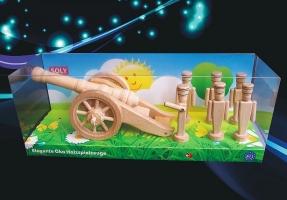 Hračky ze dřeva, polní kanón + 6x vojáček