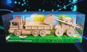 Dřevěné hračky, nákladní auto s kontejnerem + nakladač, Set Matěj