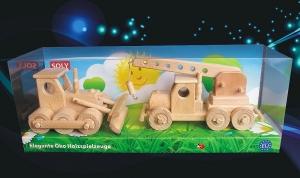 Dřevěné hračky buldozer + autojeřáb, Set Vojtěch buldozer + autojeřáb