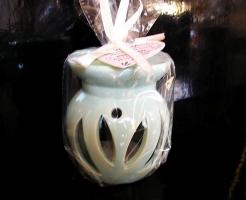 Zelená aromalampa keramická se svíčkou a voskem