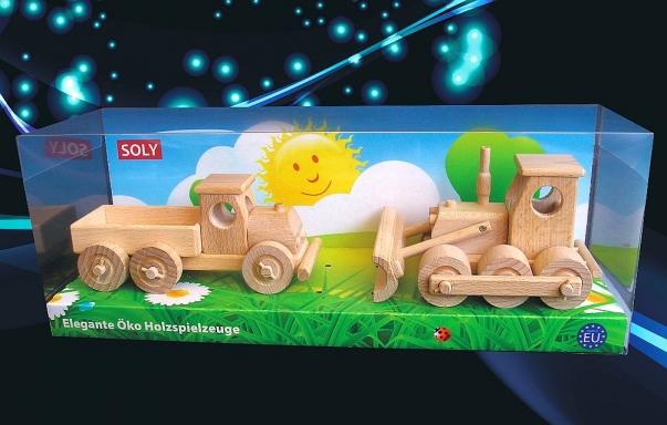 Dřevěné hračky, náklaďáček + buldozer