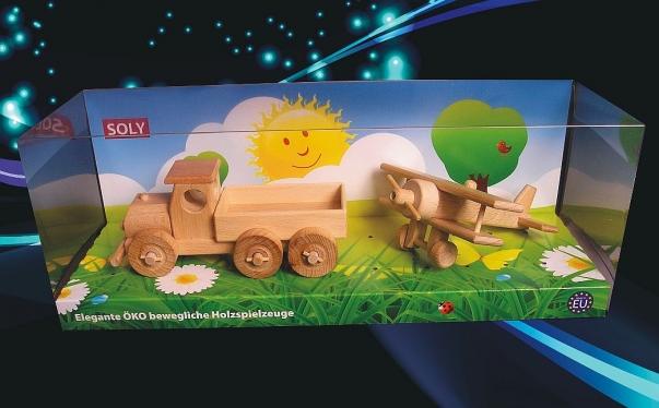 Dřevěné hračky, náklaďáček + malý dvouplošník
