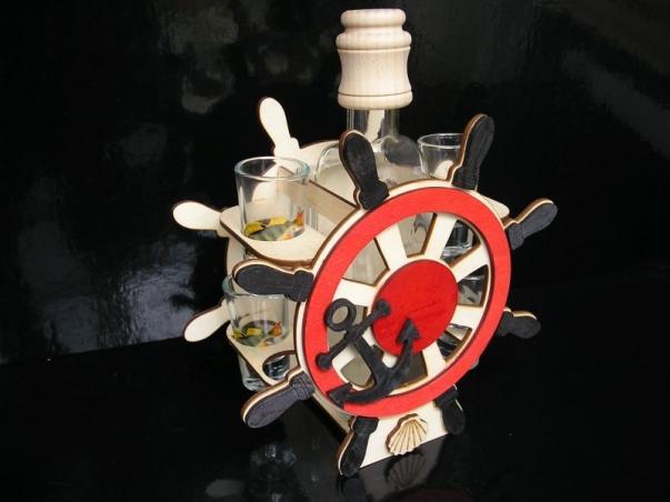 Dárek pro námořníka, rybáře | sklo láhev kormidlo 6x sklenička