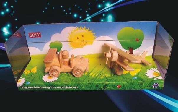 Závodní autíčko + malý dvouplošník, hračky ze dřeva