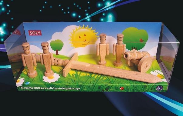 Dřevěné hračky 4x vojáček 90 mm + 1x dělo + 1x meč) Set Kryštof