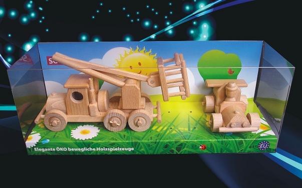 Dřevěné hračky auto zdvihací plošina a závodní autíčko