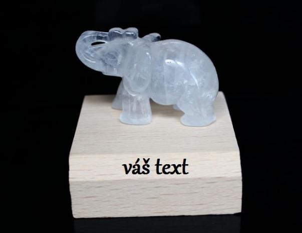 Slon  symbol pro štěstí | křišťál 5 cm (možno s věnováním)