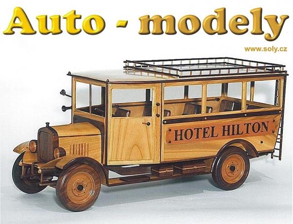 PRAGA - hotelový autobus, TOP dřevěný model