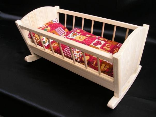 Houpací kolébka pro panenky, dřevěné hračky pro děti