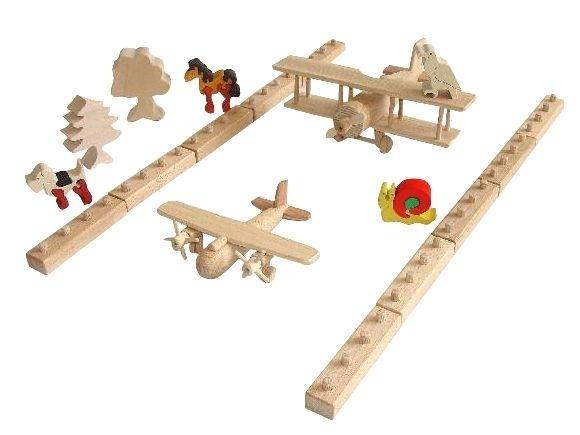 Letiště s letadly - dřevěná hračka stavebnice