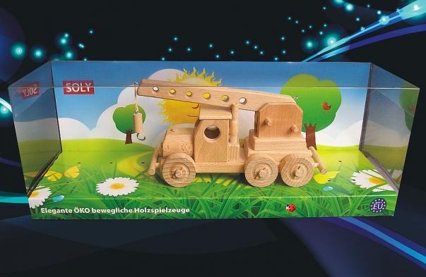 Jeřáb hračka ze dřeva - pohyblivé rameno a pojízdný