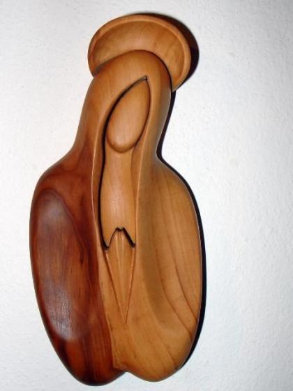 Panenka Maria dřevěná socha soška ze dřeva - busta soška