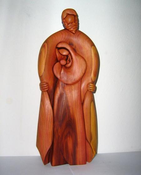 Bůh s Marií a Ježíšem děťátkem - plastika ze dřeva