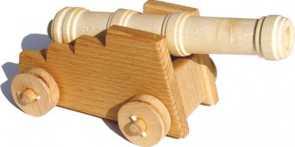 Historické dělo, kanon ze dřeva - dřevěné hračky