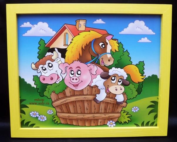 Domácí zvířátka.  Krásný obrázek v rámu do dětského pokoje.