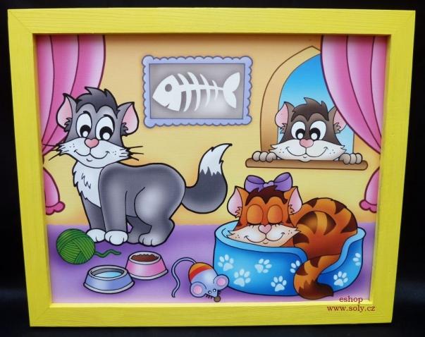 Kočičky, kočka, dekorace.  Krásný obrázek v rámu do dětského pokoje.