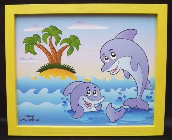 Delfíni, delfín. Dětský obrázek na stěnu do dětského pokoje.