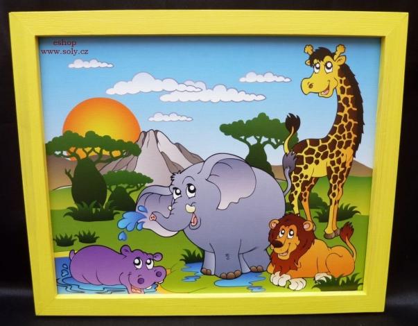 Africké zvířátka.  Krásný obrázek v rámu do dětského pokoje.
