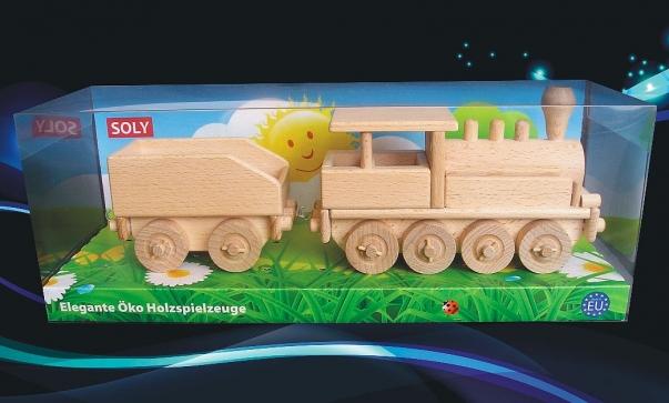 Dřevěná lokomotiva s uhlákem, hračka