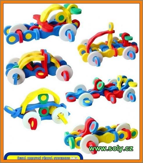 Autíčka skládací stavebnice z pěny, hračka