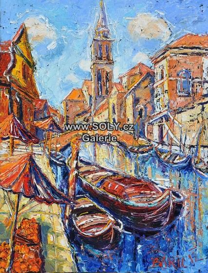 Lodě a pomeranče, originální obraz českého malíře