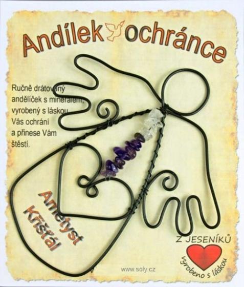 Anděl, drátovaná dekorace, KŘIŠŤÁL - AMETYST