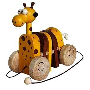 Tahací klapací hračka žirafa, myš, kočka, krokodýl