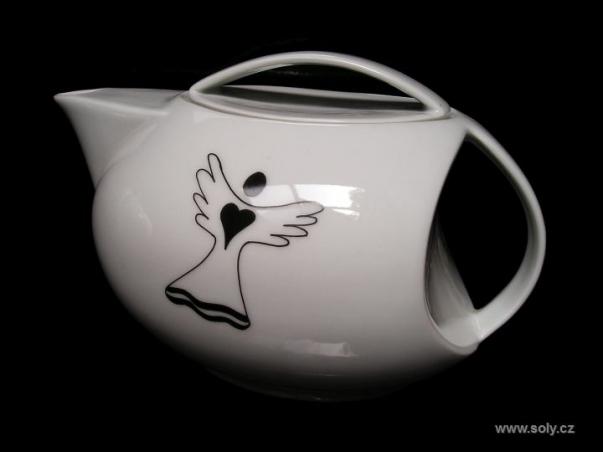 Porcelánová konvička na čaj 1 l s motivem andělíčka