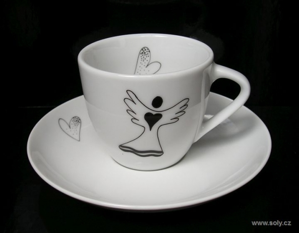 Porcelánový šálek s podšálkem 0,2l s andělem