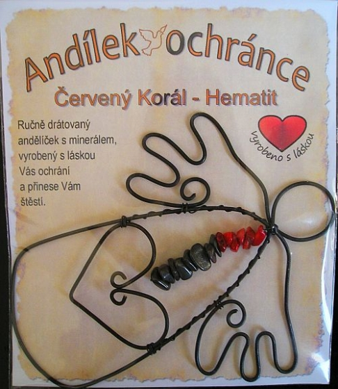 Drátovaný anděl s kamenem ČERVENÝ KORÁL - HEMATIT