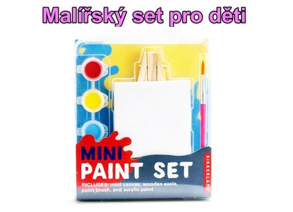 Mini dětský malovací set, stojan, plátno, štětec a barvy
