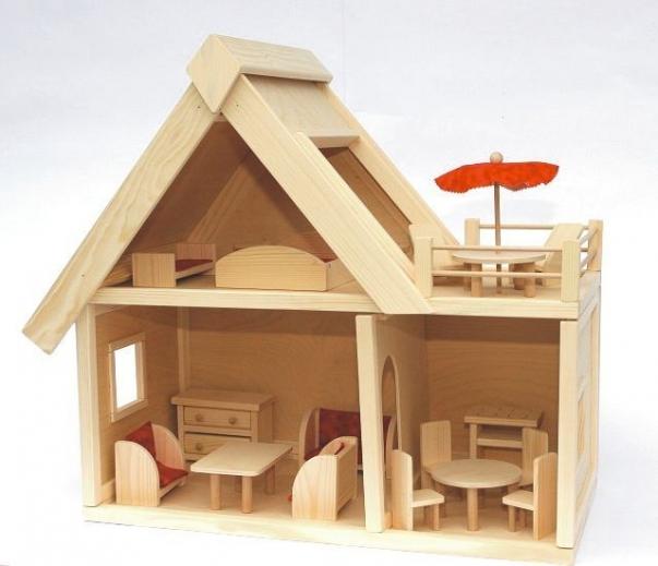 Dřevěný domeček s nábytkem pro panenky hračka
