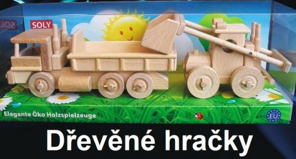 Dřevěný náklaďák a buldozer