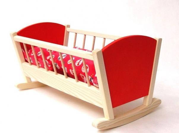 Dřevěná houpací kolébka pro panenku, červená